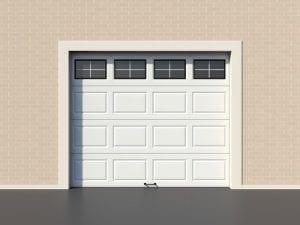 White modern garage door with windows